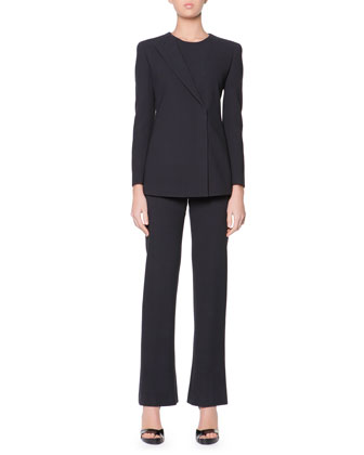 Iconic One-Lapel Jacket Pantsuit, Two-Piece Set