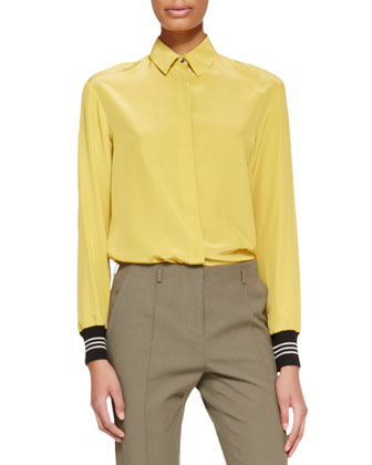 Long-Sleeve Ribbed-Cuff Silk Blouse, Gold