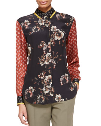 Long-Sleeve Floral/Paisley Silk Blouse, Black/Red/Multi
