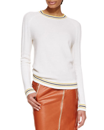 Long-Sleeve Cashmere Knit Pullover Sweater, Ivory