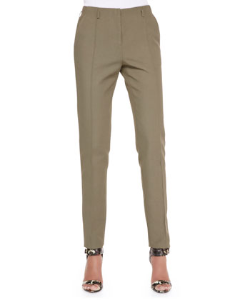 Cotton-Blend Twill Pants, Dark Olive