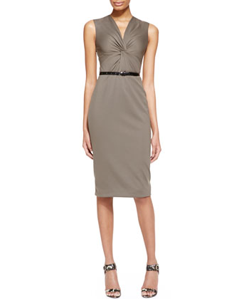 Sleeveless Ponte Jersey Twist Sheath Dress with Belt, Dark Olive