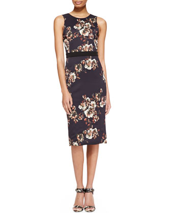 Sleeveless Floral Crepe Sheath Dress