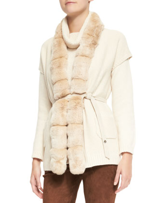 Paris Belted Chinchilla Fur-Trim Baby Cashmere Vest