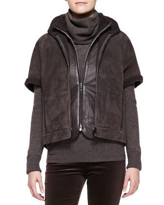 Hartfield Short-Sleeve Shearling Jacket
