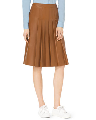 Knee-Length Pleated Leather Skirt