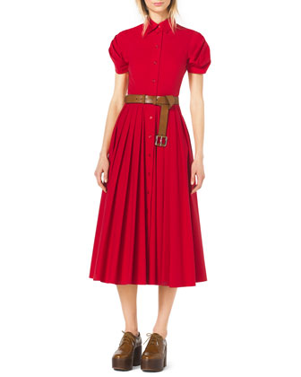 Twist-Sleeve Pleated Dress