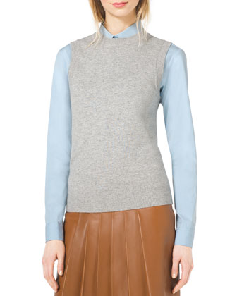 Rib-Trim Sweater Vest