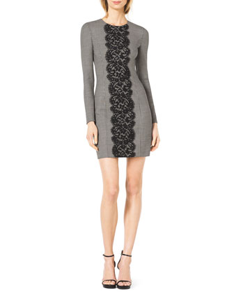 Lace-Front Fitted Houndstooth Dress