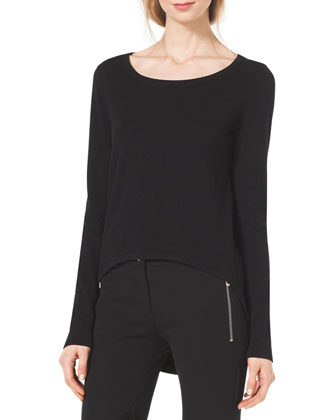 Cotton/Cashmere High-Low Sweater