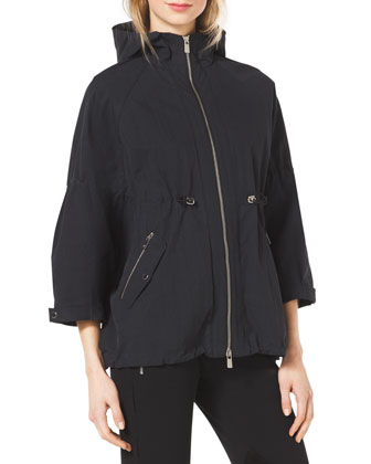 Crinkled Short Anorak Jacket