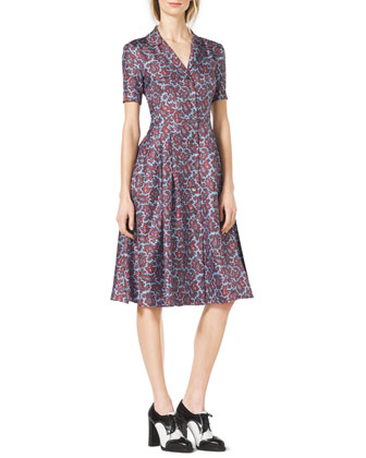 Paisley-Print Silk Shirtdress