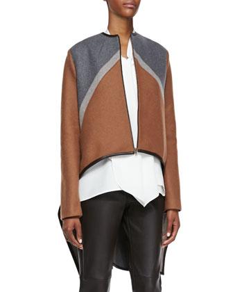 Tricolor Zip Cape Jacket