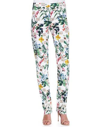 Botanical Printed Straight-Leg Pants