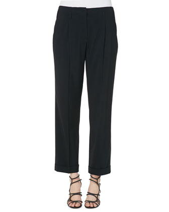 Solid Lightweight Cady High-Waist Pants, Black