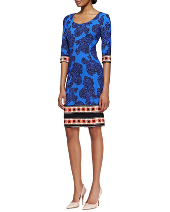 3/4-Sleeve Paisley Dress with Striped Border