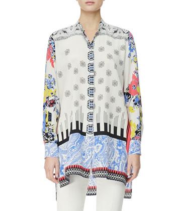 Button-Down Deco Dot & Floral Tunic
