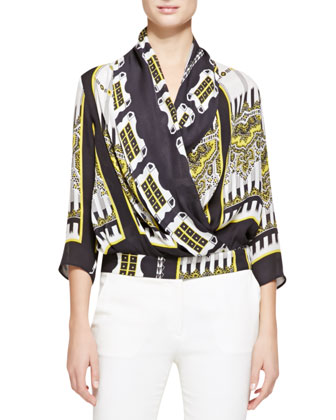 Deco Domino Georgette Blouse, Black/Gold