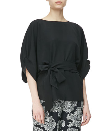 Crepe de Chine Puff-Sleeve Blouse with Tie Waist