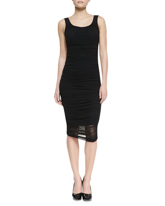 Solid Tank Fitted Dress, Black