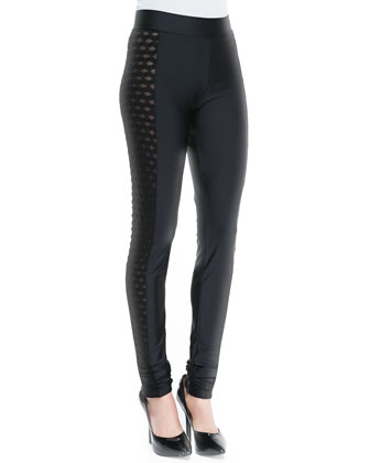 Side-Cutout Leggings, Black
