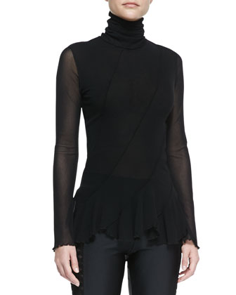 Long-Sleeve Seamed Flounce-Bottom Top, Black
