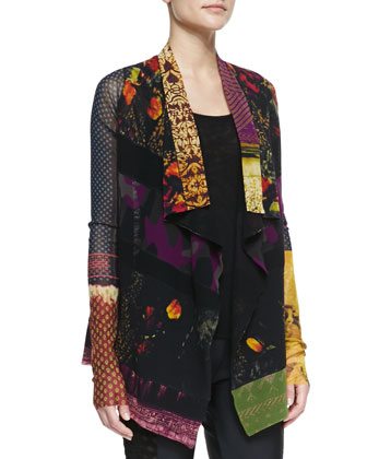 Sheer Patchwork-Print Cardigan, Black/Multi
