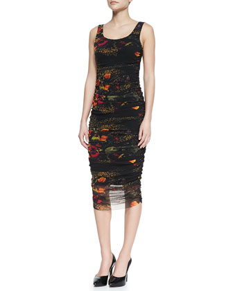 Sleeveless Floral-Printed Fitted Dress, Black/Multicolor