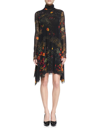 Long-Sleeve Turtleneck Floral-Print Dress, Brown/Multi
