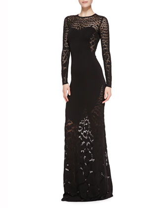 Solid-Center Patterned Sheer Gown