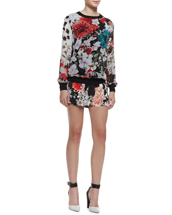 Silk Floral-Print Long-Sleeve Top