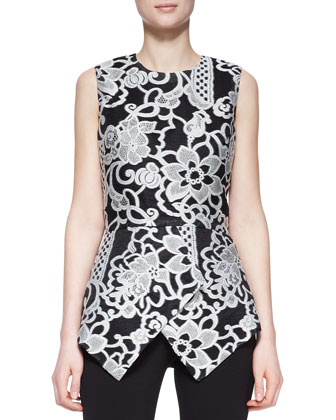Sleeveless Embroidered Peplum Top