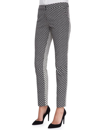 Caroline Printed Reverse-Back Pants, Black/Ivory