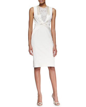 Sleeveless Embroidered Tuxedo Dress