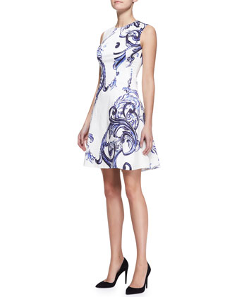 Printed Seamed Drop-Waist Dress