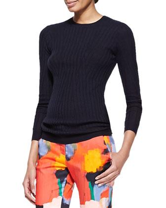 Linear Ribbed Crewneck Wool-Silk Top
