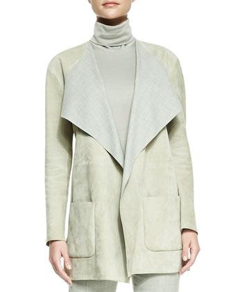 Helene Suede Drape-Neck Jacket