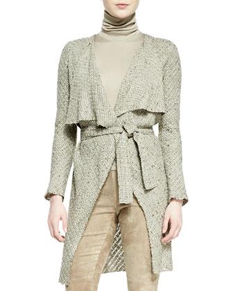 Helene Drape-Neck Sweater-Knit Jacket