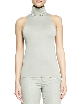 Sleeveless Silk-Cashmere Turtleneck Top, Silver