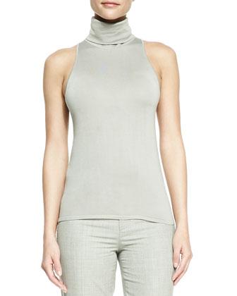 Sleeveless Silk-Cashmere Turtleneck Top, Silver