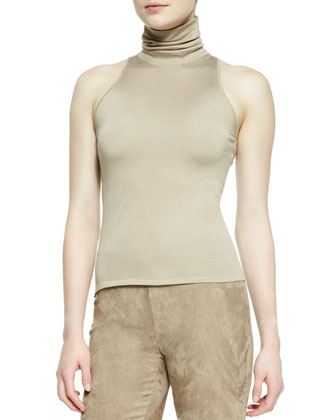 Sleeveless Silk-Cashmere Turtleneck Top, Clay