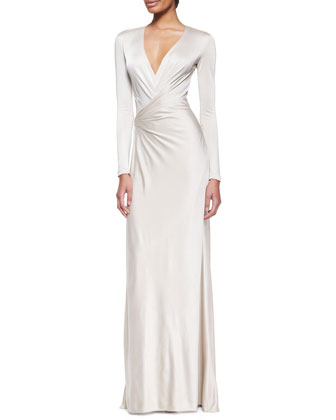 Miranda Jersey Evening Dress, Wheat