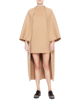 Long Cape-Sleeve Double Felt Coat, Camel