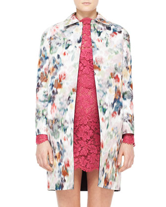 Watercolor Floral Brocade Coat, White/Red/Blue