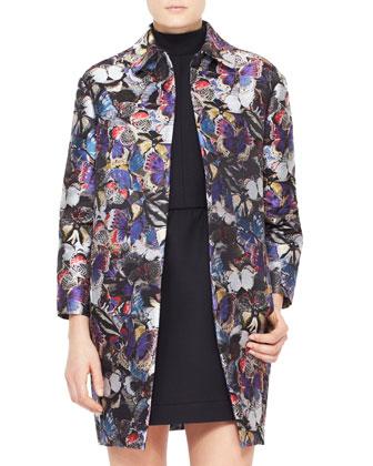 Butterfly Brocade Coat, Purple/Multi