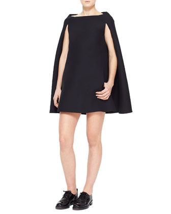 Crepe Couture Cape Dress, Black