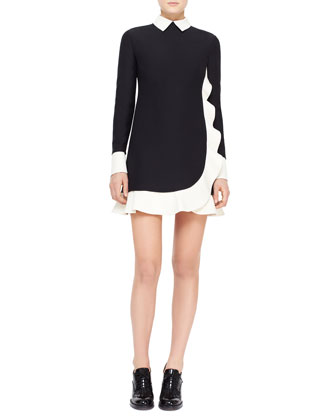 Contrast Scalloped Voulant Dress, Black/Ivory