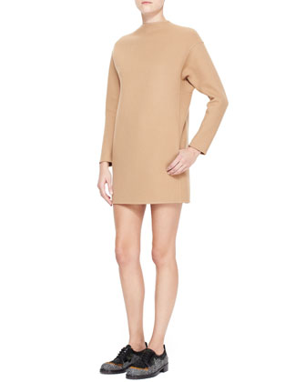 Dolman-Sleeve Double-Felt Shift Dress, Camel