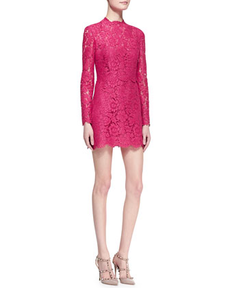 Long-Sleeve Scalloped Lace Minidress, Cherry