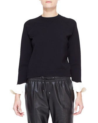 Long-Sleeve Contrast-Flutter-Cuff Top, Black/Ivory